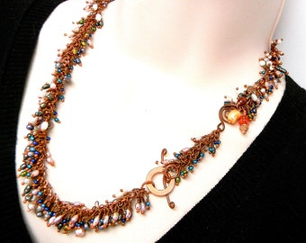 "Shaggy Pearl Garland 19"" Hand linked Copper Necklace with Swarovski Crystal Elements Asymmetrical Focal Feature and togge Clasp"
