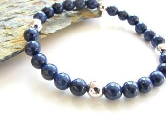 Lapis Lazuli and Silver Stretch Gemstone Bracelet - Yoga Jewelry, Meditation, Healing