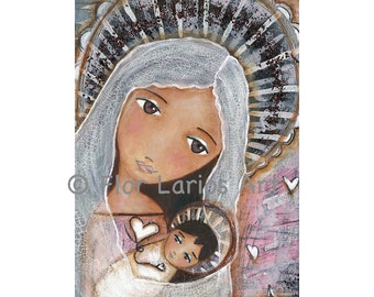Sharing Hearts -  Mother and Baby - Print from Painting by FLOR LARIOS (8 x 10 inches)