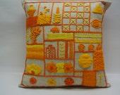 Decorative pillow - crewel geometrics - citrus shades