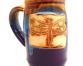 Handmade Pottery Mug   pottery and ceramics   Dragonfly   purple and blue     Jewel Pottery