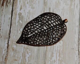Copper leaf filigree pendant