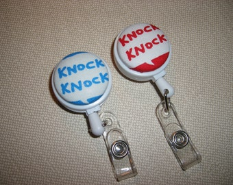 Clip On Retractable ID Badge Holder . Fabric Covered Button . Choose Color . Knock Knock