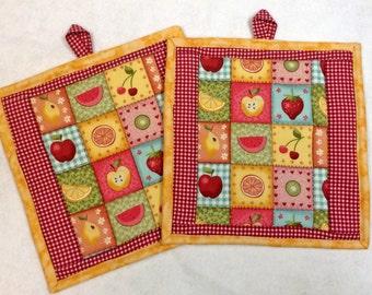 Potholders, Quilted Potholders, Trivet, Fruit Print Fabric, Quiltsy Handmade
