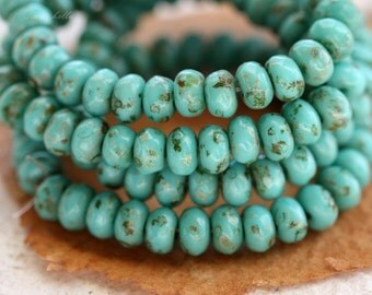 TURQUOISE WHEELS .. 30 Premium Picasso Czech Rondelle Glass Beads 3x5mm (4474-st)