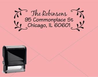 FREE US SHIPPING * Self Inking Return Address Stamp * Custom Address Rubber Stamp (E127) Leaves