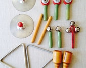 Vintage Children's Musical instruments/Cymbals/bells/Triangles and More