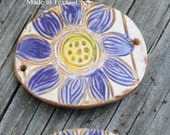 Pottery Cuff Bead, The Elli with a Flower Design in Purple and Yellow