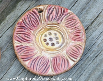 Pottery Pendant Bead with flower in Marsala and Pink