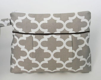 Diaper Clutch Beige and White with Waterproof Lining