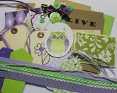 Purple and Green Owl Journal Ephemera Pack  Scrapbooking  Craft  Project Life  Smash Book  Journal  Smash  Journal Cards Junk Journal Kit
