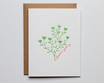 Season's Greetings - Letterpress Holiday Card - CHA234