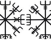 Icelandic Viking vegvisir rune black SET of 2 vinyl decal