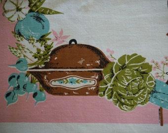 Vintage Retro tablecloth 1960s Vegetable Salad MINT with Paper Label