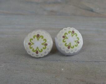Vintage Style Satin 14mm Button Earrings Mehndi