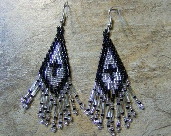 Cross Earrings Hand Made Seed Beaded