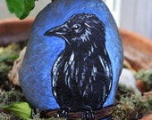 Hand Painted Stone Raven Crow Nature Decor