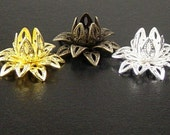 Bead Cap 18 Vintage Silver/Gold/Bronze Flower 3 Tiered Layer Filigree Bendable 16mm (1087cap16m1)
