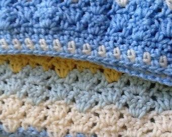 Warm striped baby afghan