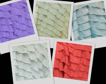 "RUFFLES yellow purple or white 1"" ruffle nylon spandex stretch fabric BTY avail in 6 colors"