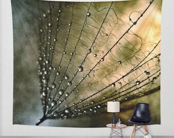 Tearcatcher - Wall Tapestry, Wall Art, Photography, modern, home, nature, fine art, inspirational, dandelion,water droplets, garden