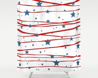 Patriotic, Shower Curtain, Stars and Stripes, 4th of July, Home, Bathroom, Inspirational, Wedding Gift, Blue, Red, White, Traditional, Dorm