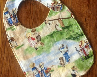 On Sale - Retro Children in the Park Minky Toddler/Baby Bib