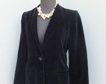 Vintage 1970s BLACK Velour Jacket or Blazer / Velour Jacket /After Six Dinner Jacket / Betty Hans0ns Petites sixe 8
