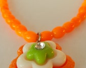 Bright Orange Glass Bead Necklace Lime Center Flower SUMMER