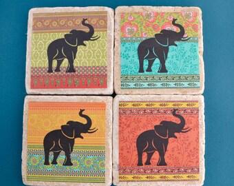 Travertine Tile Coaster Set  Elephants on Ornamental Brocade