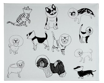 Cats and Dogs Tea Towel, Veterinarian Gift, Cone Cat Tea Towel, Cone Dogs, Cone of Shame, Dog Tea Towel