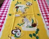 Vintage Linen Fruit Basket  Kitchen Towel