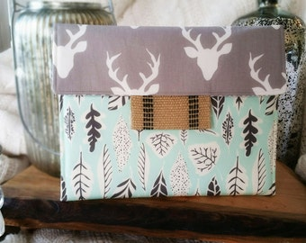 iPad Envelope Case, Tablet Case, Ipad Sleeve, Ipad mini envelope cover, case, ipad Cover in OH Deer Buck and Leaf Print - Country Girl