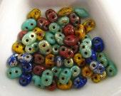 Czech Super Duo 2 hole Beads, 2.5x5  Raku (DU0MIX127), one 20 Gram Flip Top Tube