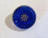 18mm Bohemian Czech Glass Button Daisy motif, Cobalt with Silver Trim (B/279)