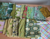 The Colors of Green Cotton Fabric Scrap Bundle