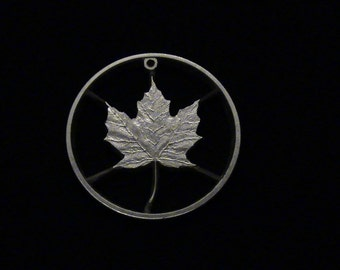 CANADA  - cut coin pendant - 99.999% solid silver - MAPLE LEAF