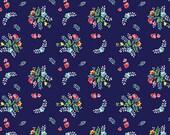 One (1) Yard-Riley Blake Single jersey Knit Vintage Market Floral on Navy Fabric K4564-NAVY