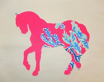 New made To Order Horse Pillow made with Lilly Pulitzer Capri Pink Samba fabric