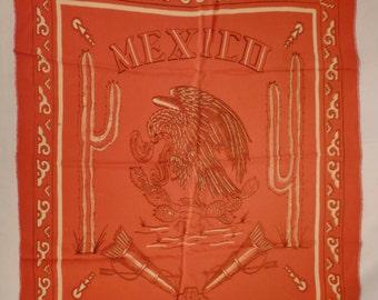 TEXAS Scarf MEXICO 1940s Rayon El Fenix Restaurant coral orange color Eagle Cacti 24 x 21 inches great condition