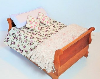 Handmade Dollhouse Miniature Sleigh Bed in Cherry with Purple and Pink Linens, Blanket and Pillow