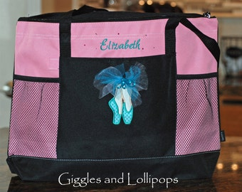 Girls personalized dance bag tote zippered ballet jazz