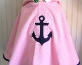 Girls Swimsuit Cover Up, Preppy Hooded Towel, Anchor Terry Coverup, Girls Beach Apparel Toddler Coverup Pink Beach Poncho