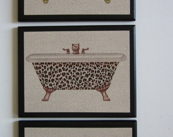 Leopard Print Wall Decor leopard bathroom   etsy