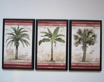 Palm Trees 3 Tropical Spa Bathroom wall decor plaques signs palms bath sunroom