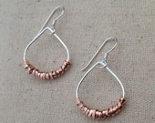 Silver & Rose Gold Filled Raindrop Wrapped Earrings - E381SG - handmade wirejewelry by cristysjewelry on etsy