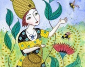Beatrice and her Bees. Art print from my watercolour painting, wall art, A4
