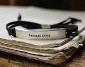 sterling silver and leather/suede ID bracelet ~ your custom stamped personalized message, made to order ~ perfect gift for her