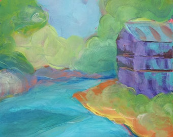 Old Mill Challenge original abstract landscape oil painting