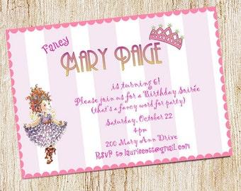 Fancy Nancy Birthday Party Invitation - Digital File - Fancy Nancy Invitation
